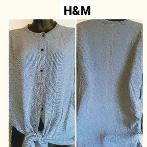 H&M blue buttoned drawstring longsleeve top